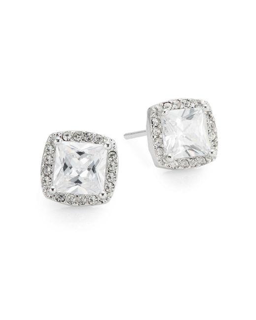 Saks Fifth Avenue | Metallic Pavé Halo Square Stud Earrings | Lyst