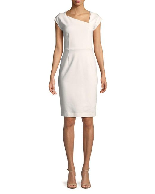French Connection - White Lula Stretch Sheath Dress - Lyst