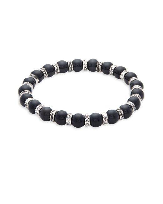 Perepaix - Black Stainless Steel & Obsidian Beaded Bracelet - Lyst