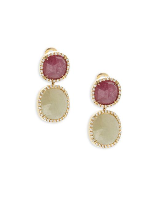 Marco Bicego | Metallic Sapphire, Diamond & 18k Yellow Gold Double Drop Earrings | Lyst