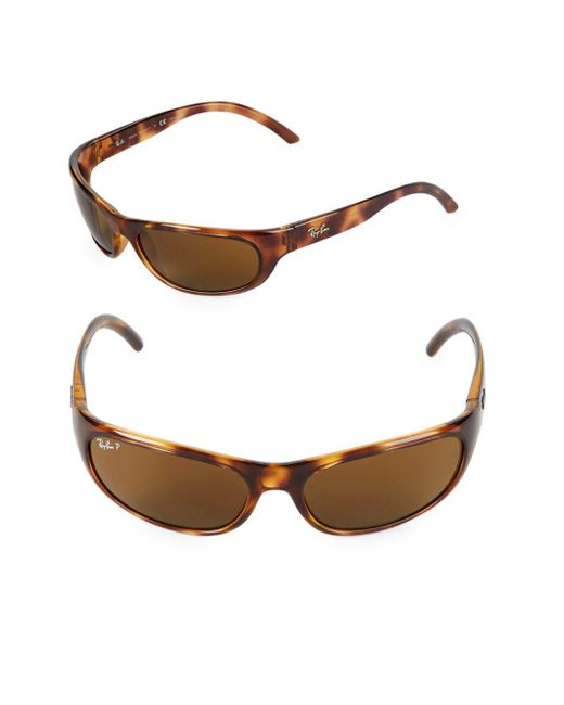 Ray-Ban - Brown 60mm Polarized Oval Wrap Sunglasses - Lyst