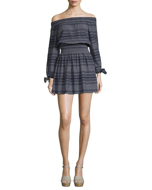 Moon River - Blue Off-the-shoulder Striped Cotton Dress - Lyst