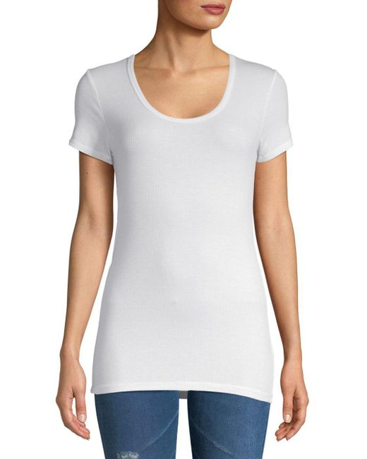 Splendid - White Slim Fit Crew Neck Tee - Lyst