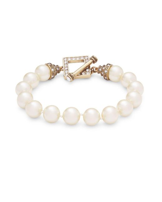 Heidi Daus | White Faux Pearl And Crystal Toggle Bracelet | Lyst