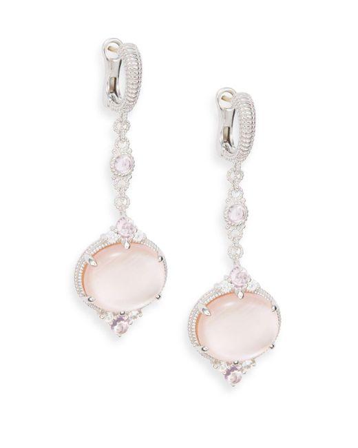 Judith Ripka   Metallic Allure White Sapphire, Rock Crystal, Pink Corundum, Pink Mother-of-pearl & Sterling Silver Drop Earrings   Lyst