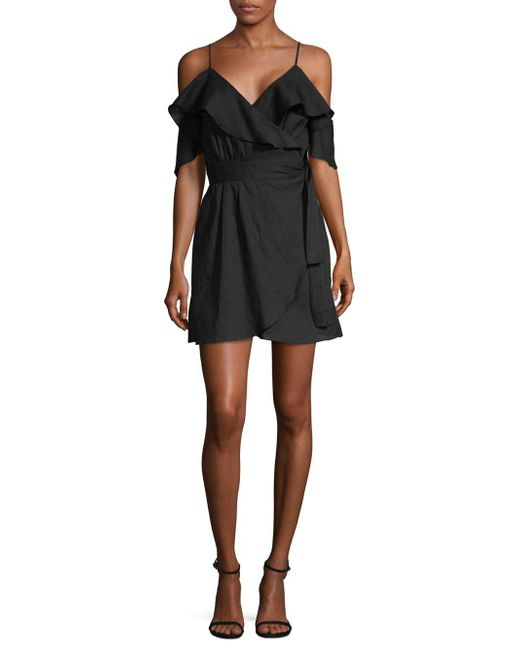 6 Shore Road By Pooja - Black Cold-shoulder Ruffle Tie Dress - Lyst