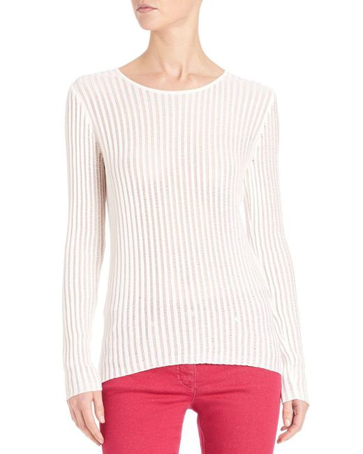 ESCADA - White Lightweight Ribbed Pullover - Lyst