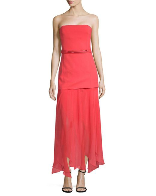Halston Heritage - Multicolor Straight Across Belted Midi Dress - Lyst