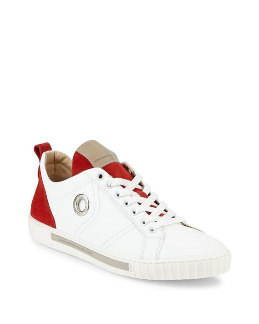 Alessandro Dell'acqua | White Perforated Leather Lace-up Sneakers for Men | Lyst