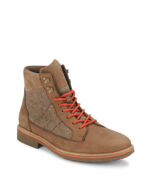 Original Penguin | Brown Leather Blend Round Toe Boots for Men | Lyst