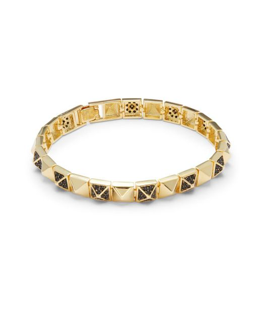 Noir Jewelry | Metallic Cubic Zirconia & 18k Gold-plated Bracelet | Lyst
