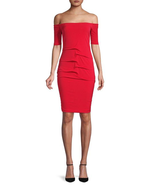 Nicole Miller Artelier - Red Classic Off-the-shoulder Dress - Lyst