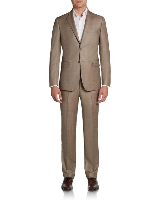 Saks Fifth Avenue Black - Brown Slim-fit Sharkskin Wool Suit for Men - Lyst