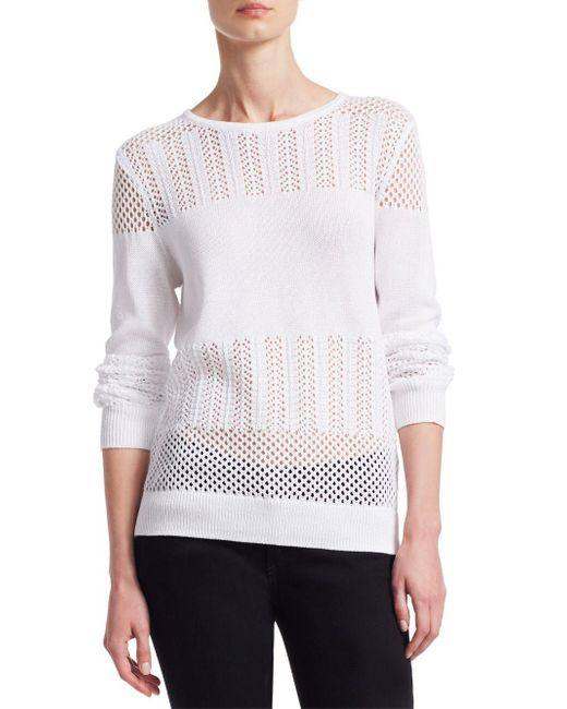 Saks Fifth Avenue - White Collection Mixed-stitch Cotton Pullover - Lyst