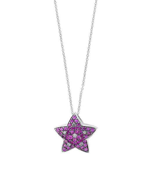 Effy - Multicolor Diamond, Pink Sapphire And 14k White Gold Star Pendant Necklace, 0.18 Tcw - Lyst
