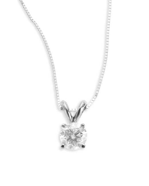 Saks Fifth Avenue | 0.5 Tcw Diamond & 18k White Gold Solitaire Pendant Necklace | Lyst