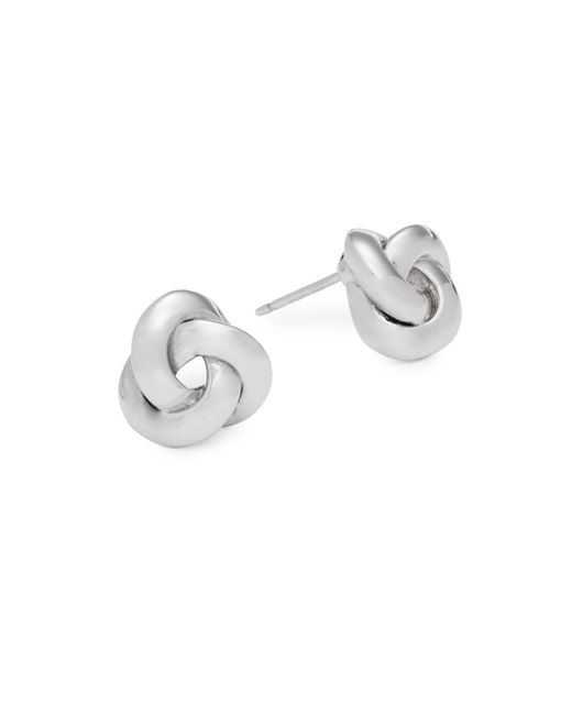 Saks Fifth Avenue - Metallic 14k White Gold Knot Earrings - Lyst