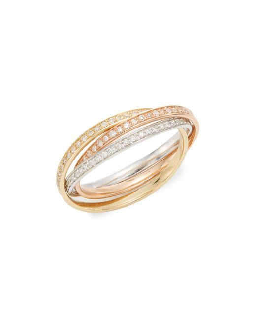 Effy - Metallic Diamond & 14k White, Yellow & Rose Gold Ring - Lyst