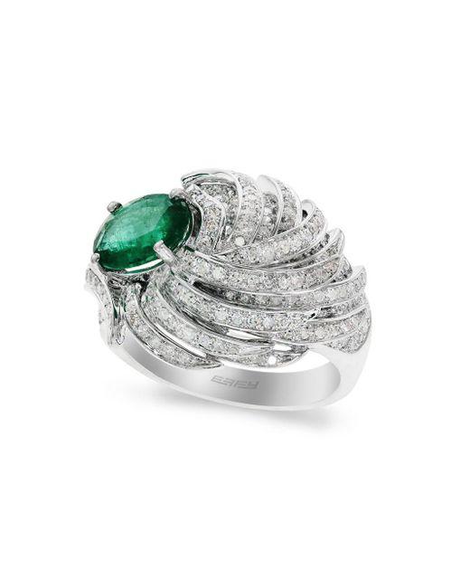 Effy - Diamond, Emerald & 14k White Gold Ring - Lyst