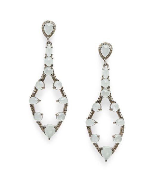 Bavna - Metallic Diamond, Aquamarine & Sterling Silver Drop Earrings - Lyst