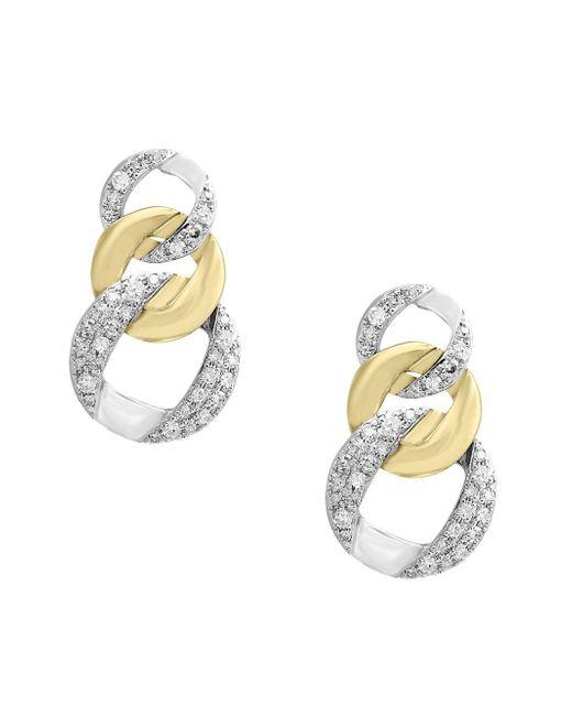 Effy Metallic Duo Diamond And 14k White And Yellow Gold Earrings