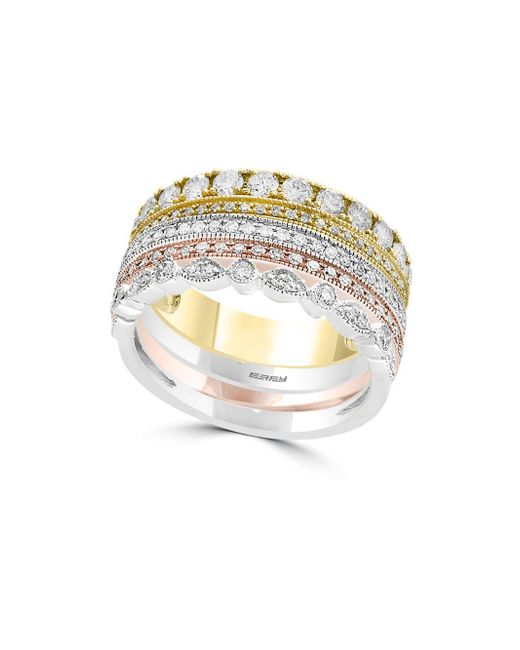 Effy - Metallic 14k Tri-tone Gold & Diamond Stacked Ring - Lyst