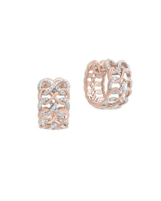 Effy - Metallic Diamond And 14k Rose Gold Huggies Earrings, 0.48 Tcw - Lyst