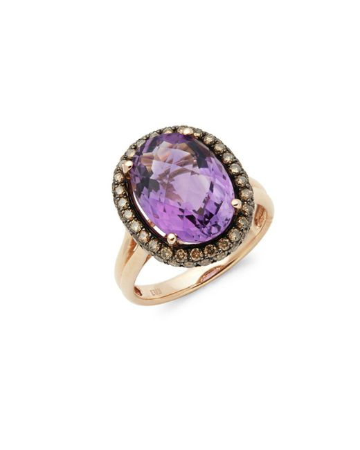 Effy - Brown 14k Rose Gold Diamond & Amethyst Ring - Lyst