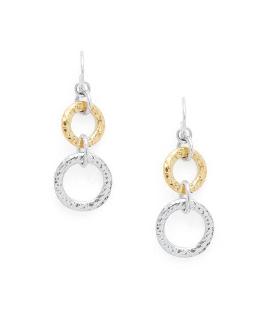 Gurhan   Metallic 24k Gold & Sterling Silver Circle Drop Earrings   Lyst