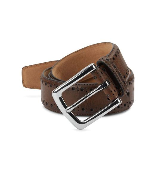 Cole Haan - Brown Perforated Leather Belt for Men - Lyst