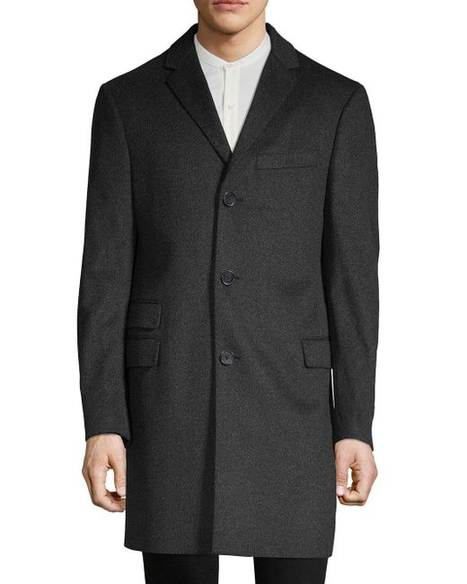 Saks Fifth Avenue - Black Textured Topcoat for Men - Lyst