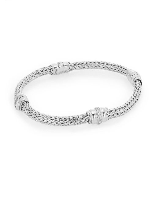 John Hardy - Metallic Bedeg 0.29 Tcw Diamond & Sterling Silver Barrel Station Bracelet - Lyst