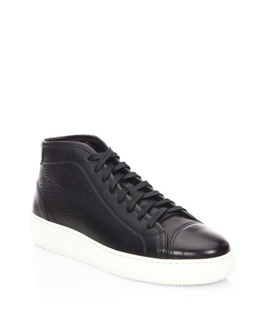 Facto - Black Mars Leather Mid Top Sneakers for Men - Lyst