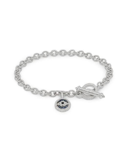 Judith Ripka - Metallic La Petite Sterling Silver, Blue & Black Sapphire, White Topaz & Crystal Charm Bracelet - Lyst