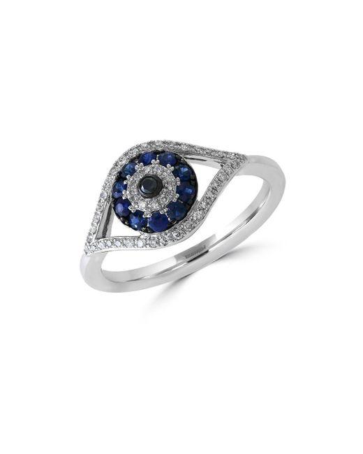 Effy - Metallic Royale Bleu Sapphire, Diamond And 14k White Gold Evil Eye Ring - Lyst