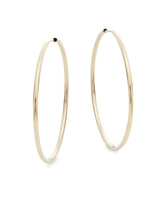 """Saks Fifth Avenue   Metallic 14k Yellow Gold Hoop Earrings/1.6""""   Lyst"""