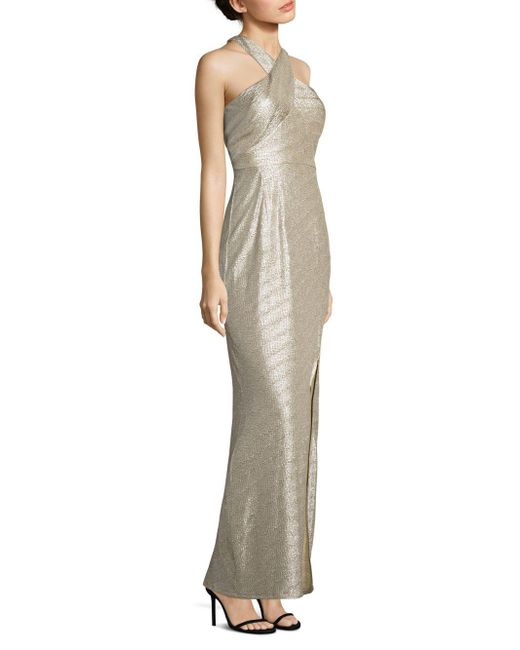 Laundry by Shelli Segal - Metallic Halter Gown - Lyst