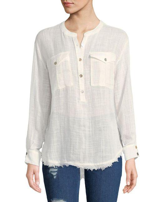 Free People - White Long-sleeve Frayed-hem Shirt - Lyst