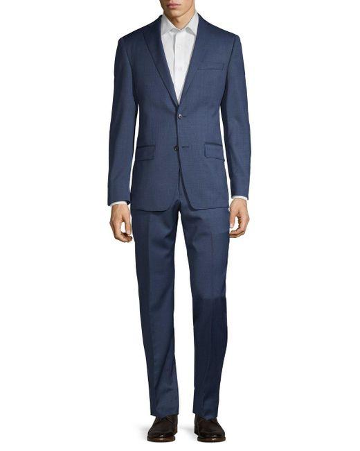 Michael Kors Blue Textured Wool Suit for men