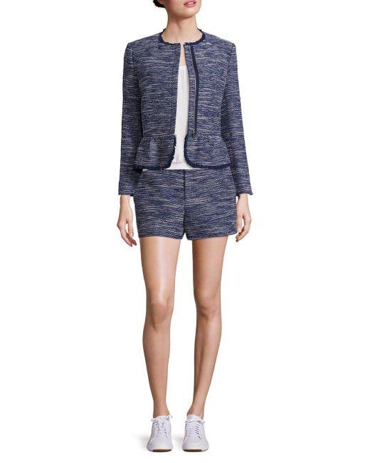 Joie - Blue Milligan Tweed Zip-front Jacket - Lyst
