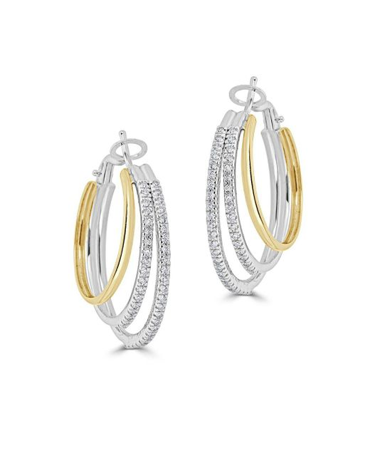 Saks Fifth Avenue - Metallic Diamond Two-tone Loop Earrings - Lyst