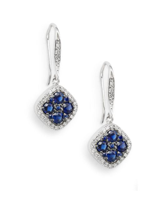 Effy | Blue Sapphire, Diamond & 14k White Gold Drop Earrings | Lyst