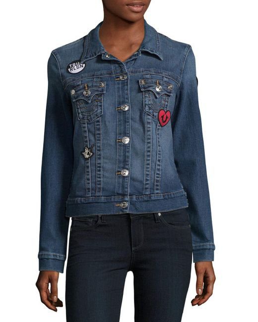 True Religion - Blue Denim Tracker Jacket - Lyst