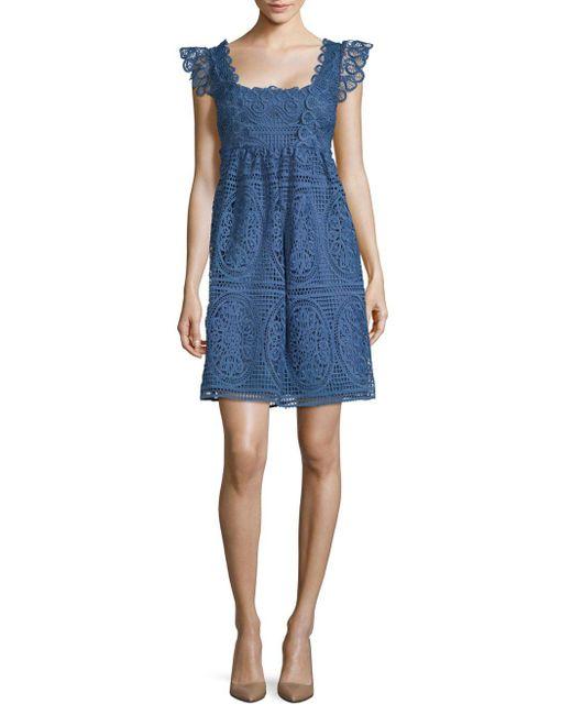 32ba7dbdea1f Lyst - Temperley London Titania Lace Dress in Blue - Save 35%
