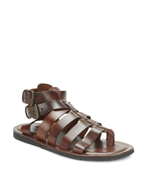 Saks Fifth Avenue - Brown Leather Gladiator Sandals for Men - Lyst