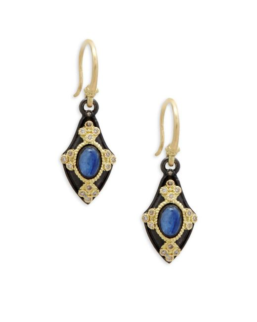 Armenta - Blue 18k Yellow Gold, Kyanite & Champagne Diamond Drop Earrings - Lyst