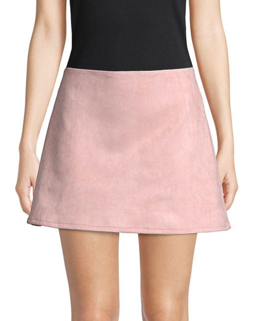 French Connection - Pink Classic Faux Suede Mini Skirt - Lyst