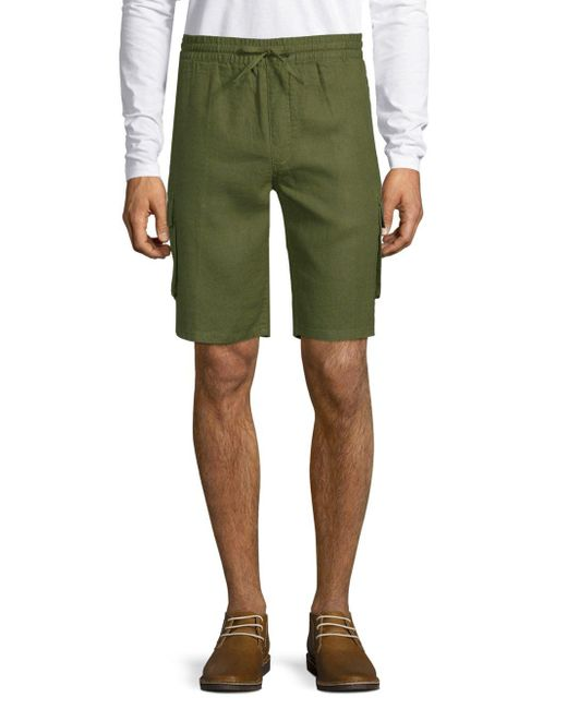 Saks Fifth Avenue - Green Linen Cargo Shorts for Men - Lyst