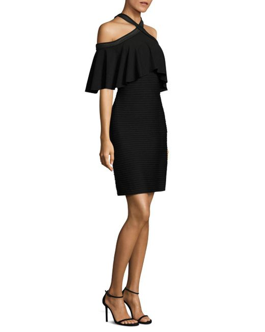 Tadashi Shoji - Black Crisscross Cold Shoulder Dress - Lyst