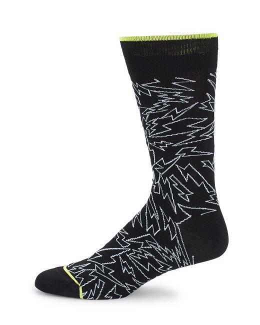 Bugatchi - Black Thunder-print Crew Socks for Men - Lyst